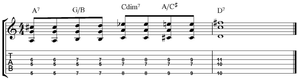 blues rhythm guitar 4 root movement sample