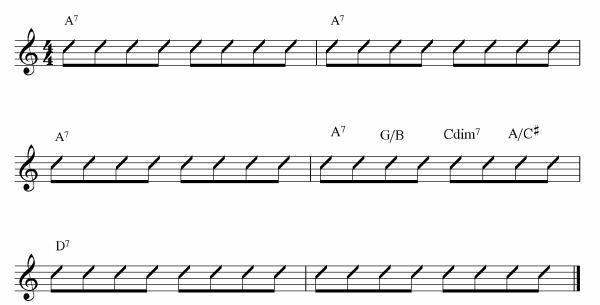 5 shuffle blues passing chord