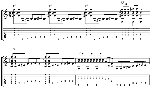acoustic blues chords - example 4