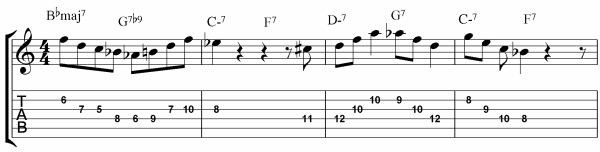 Rhythm Changes Licks Etude Bars 1 - 4