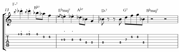 Rhythm Changes Licks Etude Bars 13 - 16