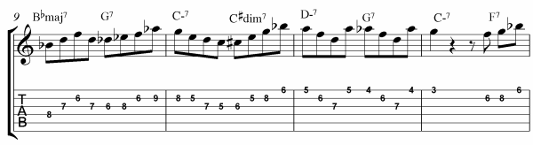 Rhythm Changes Licks Etude Bars 9 - 12