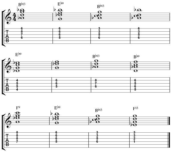 dominant 7th chord inversions jazz blues study