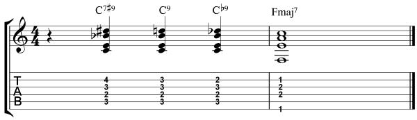 dominant 7#9 chord VI